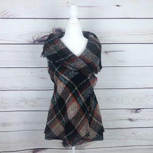 Hazel Anthropologie Boho Tartan Wool Vest Size S
